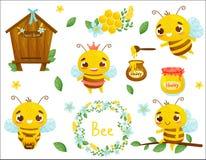 Metta dell'ape, del miele e dell'altra illustrazione di apicoltura Vettore Stile del fumetto illustrazione vettoriale