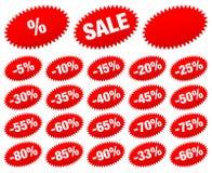 Metta dell'autoadesivo rosso di vendita meno le stelle ovali illustrazione di stock