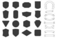 Metta dell'etichetta di vitage, i distintivi modellano e le collezioni del baner del nastro Vettore r illustrazione di stock