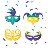 Metta dell'icona della celebrazione di carnevale delle maschere illustrazione di stock