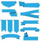 Metta dell'icona dell'insegna del nastro blu illustrazione di stock