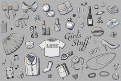 Metta dell'illustrazione disegnata a mano di modo dei modelli con la roba delle ragazze Metta dell'abbigliamento, dei gioielli, d illustrazione di stock
