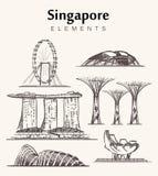 Metta dell'illustrazione disegnata a mano di vettore di schizzo edifici di Singapore immagine stock libera da diritti
