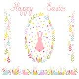Metta della corona di Pasqua con un coniglio del fumetto, un confine orizzontale dei tulipani e le uova, due ornamenti verticali  illustrazione di stock