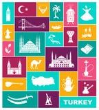 Metta della cultura della Turchia del paese e dei simboli tradizionali Raccolta delle icone piane illustrazione vettoriale