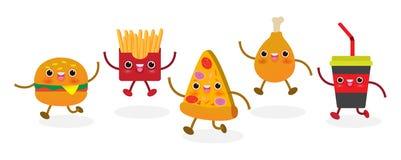Metta della fetta della pizza divertente Pasto rapido Progettazione della pizza Personaggio dei cartoni animati dell'illustrazion illustrazione di stock
