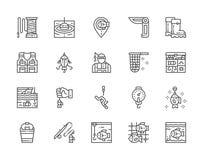 Metta della linea di pesca icone Coltello a serramanico, pescatore, scatola di attrezzatura, acquario e più illustrazione di stock