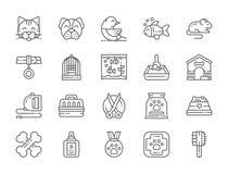 Metta della linea icone del negozio di animali Gatto, cane, uccello, pappagallo, pesce, topo e più illustrazione vettoriale