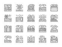Metta della linea icone del paesaggio Ponte, deserto, cascata, spiaggia, foresta e più royalty illustrazione gratis