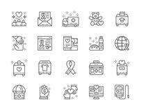Metta della linea icone di donazione e della carità Cassetta di pronto soccorso d'offerta e e più illustrazione vettoriale