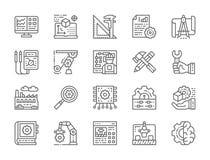 Metta della linea icone di fabbricazione e di ingegneria Presentazione, strumenti e più illustrazione di stock