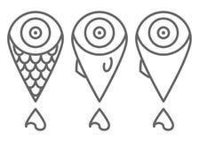 Metta della linea minima icone del pesce nelle forme differenti fotografie stock libere da diritti