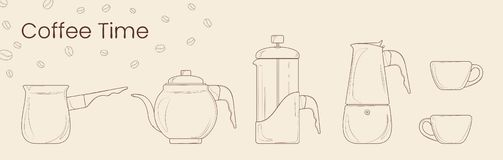Metta della linea vettore di preparazione del caffè Cezve, bollitore del caffè, stampa francese, vaso di moka e tazza di caffè pe illustrazione vettoriale