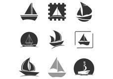 Metta della nave di navigazione, la barca a vela, la barca a vela, la vela, la nave, logo del tagliatore illustrazione di stock