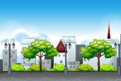 Metta della scena urbana del paesaggio royalty illustrazione gratis