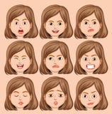 Metta della testa della ragazza con espressione facciale differente illustrazione vettoriale