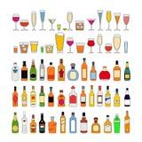 Metta delle bevande dell'alcool in vetri isolati sull'illustrazione bianca di vettore del fondo Celebrazione di festa illustrazione di stock