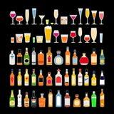 Metta delle bevande dell'alcool in vetri isolati sull'illustrazione nera di vettore del fondo Celebrazione di festa royalty illustrazione gratis