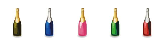 Metta delle bottiglie differenti del champagne illustrazione vettoriale