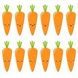 Metta delle carote sorridente sveglie Metta della carota di Emoji Verdura di sorriso Illustrazione piana isolata di vettore su fo illustrazione vettoriale