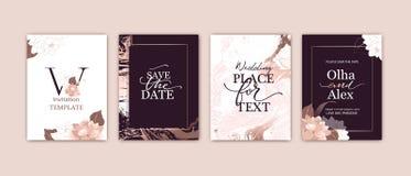 Metta delle carte eleganti con il rosa, arrossisca peonie Struttura del marmo dell'oro di Rosa r illustrazione vettoriale
