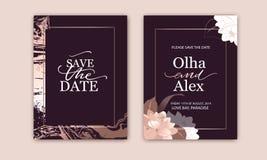 Metta delle carte eleganti con il rosa, arrossisca peonie Struttura del marmo dell'oro di Rosa r royalty illustrazione gratis