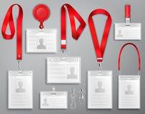Metta delle carte realistiche di identificazione dei distintivi sulle cordicelle rosse con le clip della cinghia, il cavo ed il v illustrazione di stock