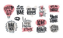 Metta delle confessioni di amore, degli slogan romantici o delle citazioni scritti a mano con le fonti calligrafiche eleganti dec illustrazione vettoriale