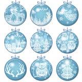 Metta delle decorazioni di Buon Natale con le palle royalty illustrazione gratis