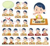 Metta delle donne di babysitter circa i pasti royalty illustrazione gratis