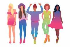 Metta delle giovani donne o della ragazza graziose vestita nell'illustrazione abbigliamento-piana alla moda del fumetto Personagg illustrazione vettoriale