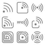Metta delle icone con differenti variazioni dell'immagine del rfid nelle forme differenti fotografia stock libera da diritti