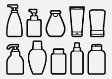 Metta delle icone cosmetiche della bottiglia, progettazione del profilo Vettore illustrazione di stock