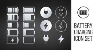Metta delle icone dell'indicatore di carica della batteria Illustrazione di vettore isolata su fondo nero illustrazione vettoriale