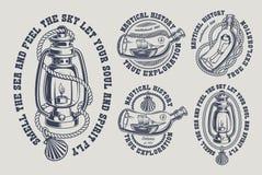 Metta delle illustrazioni marine d'annata in bianco e nero illustrazione vettoriale