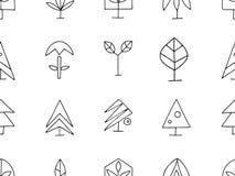 Metta delle illustrazioni stilizzate disegnate a mano del grafico di vettore degli alberi Modello senza cuciture astratto decorat illustrazione vettoriale
