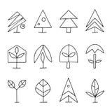 Metta delle illustrazioni stilizzate disegnate a mano del grafico di vettore degli alberi Raccolta astratta decorativa delle icon illustrazione vettoriale