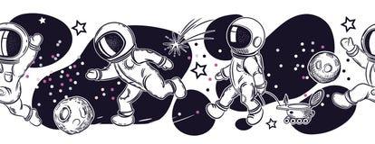 Metta delle immagini degli astronauti Gli astronauti stanno giocando a calcio, pesca, volo in un pallone royalty illustrazione gratis