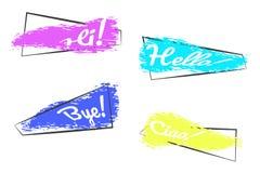 Metta delle insegne d'avanguardia nel telaio su fondo bianco Spazzole colorate di lerciume nel telaio con testo ciao! Chao! Arriv illustrazione di stock