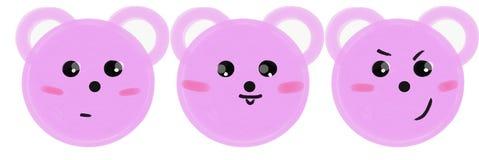 Metta delle museruole rosa degli orsi del fumetto con le emozioni Illustrazione del quadro televisivo illustrazione di stock