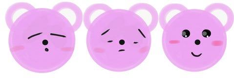 Metta delle museruole rosa degli orsi del fumetto con le emozioni Illustrazione del quadro televisivo royalty illustrazione gratis