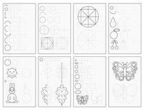Metta delle pagine educative in bianco e nero su carta quadrata per i bambini Foglio di lavoro stampabile per il manuale dei bamb illustrazione di stock