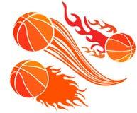 Metta delle palle di pallacanestro con le tracce di moto nello stile comico Progetti l'elemento per il manifesto, l'insegna, l'al illustrazione di stock