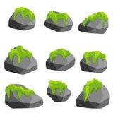 Metta delle pietre grige con muschio verde Illustrazione del fumetto illustrazione di stock