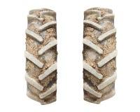 Metta delle ruote del trattore con suolo e la sporcizia immagini stock