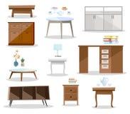 Metta delle tavole del differernt Comodino comodo della mobilia, scrittorio, tavola dell'ufficio, tavolino da salotto nella proge illustrazione di stock