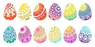 Metta delle uova di Pasqua colorate differenti illustrazione vettoriale