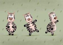 Metta delle zebre divertenti del fumetto su fondo bianco Zebre variopinte sveglie del bambino sopra illustrazione vettoriale