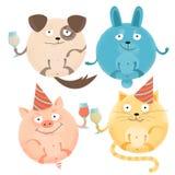 Metta di 4 animali rotondi allegri in vacanza con i vetri in cappucci festivi Cane sorridente felice, coniglio, gatto, maiale Pia illustrazione di stock