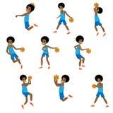 Metta di azione differente del ragazzo africano del carattere di pallacanestro illustrazione di stock